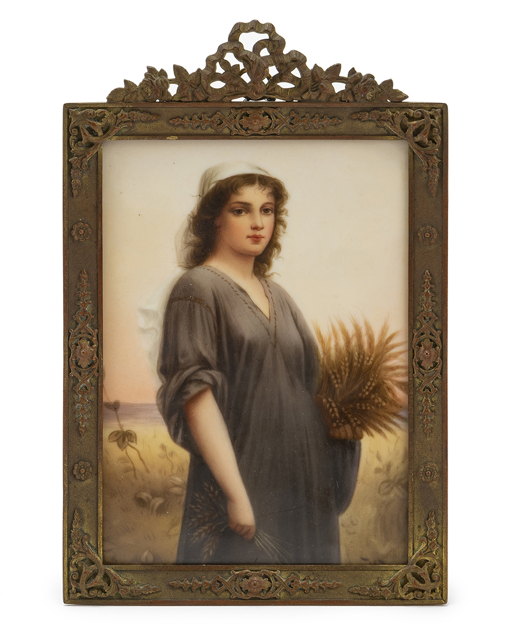 Lot 1032 - A framed German hand-painted porcelain plaque, ''Ruth''
