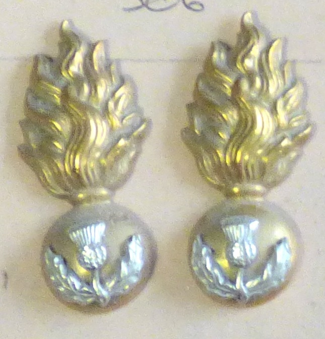 Lot 506 - British WWI The Royal Scots Fusiliers Collar badges, Officers pair (Bi-metal, lugs)