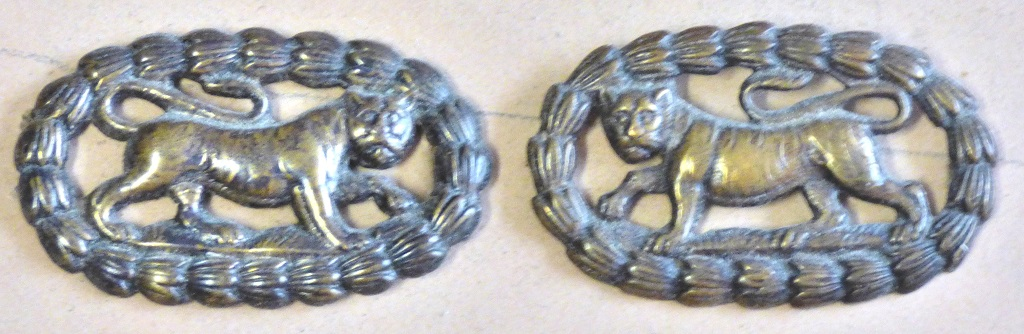 Lot 502 - British WWI Leicestershire regiment collar badges, Officers facing pair (bronzed brass, lugs)