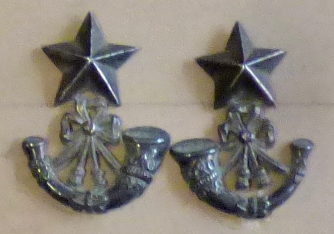 Lot 512 - British Pre-WWI Officers Light Infantry Collar badges, scarce variant (White-metal, lugs)