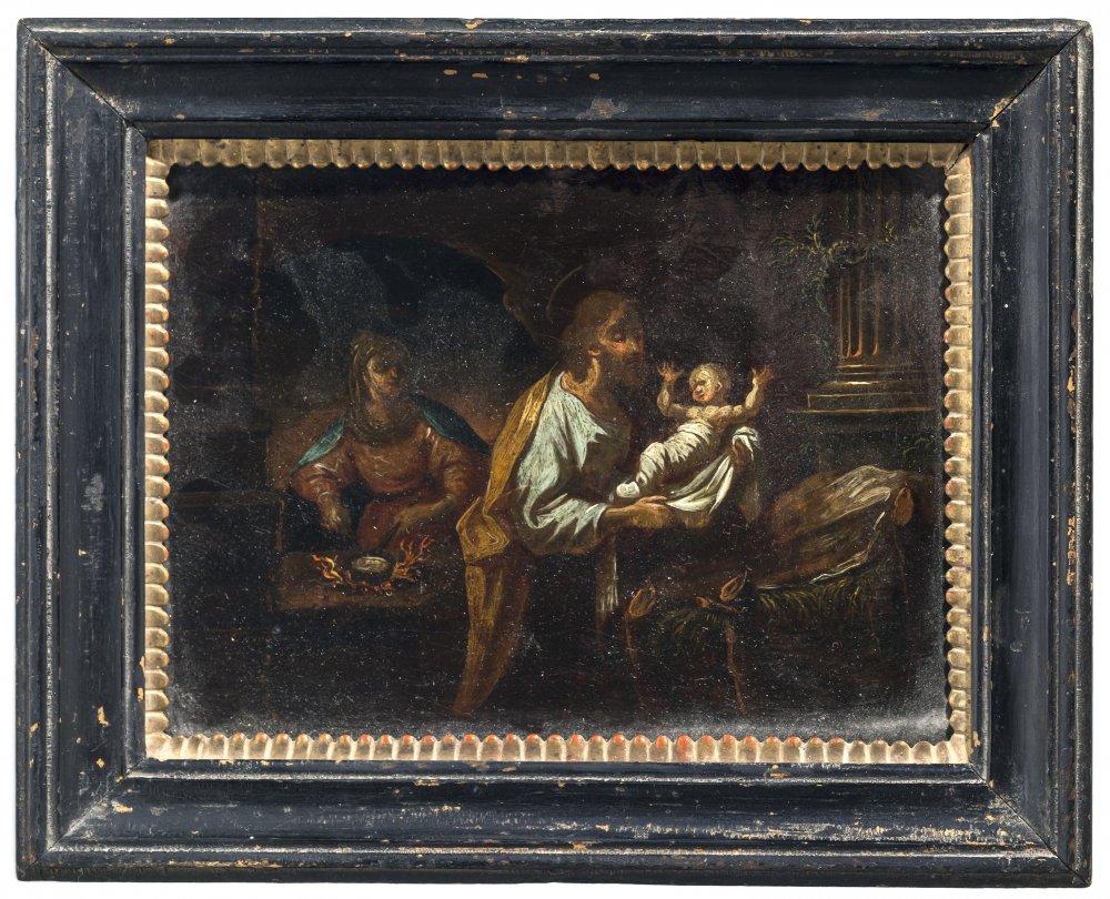 "Tirol, 18./19. Jh.Der hl. Josef ""herzt"" das Jesuskind. Öl/Papier. 16 x 21 cm. Rest., unsign.Tyrol,"
