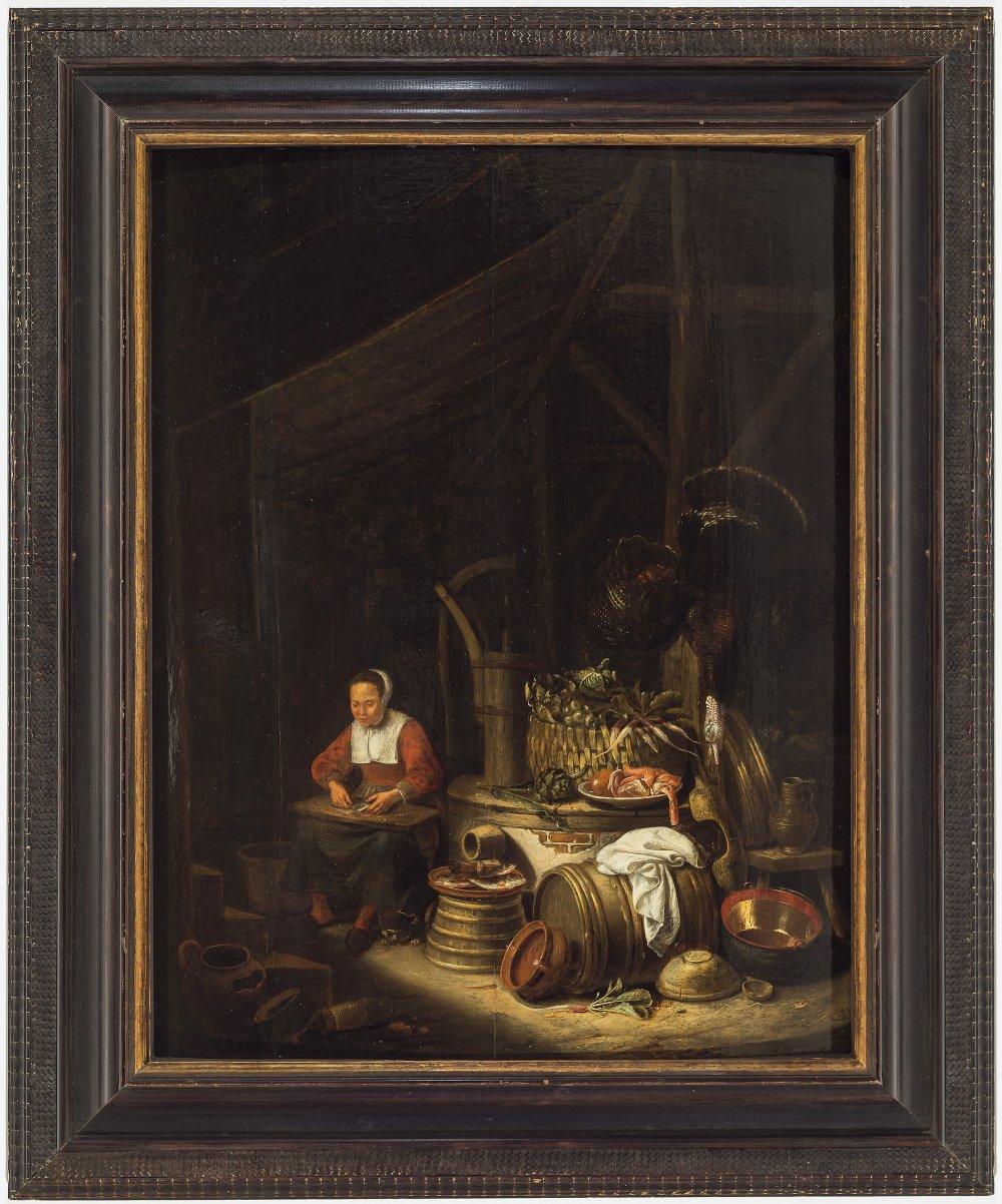 Niederlande, 17. Jh.Magd beim Fisch ausnehmen. Öl/Holz. 63,5 x 50 cm. Rest. Unsign.The