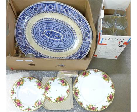 A Royal Albert Old Country Roses three-tier cake stand, boxed, a BG&W blue and white meat plate, a Royal Selangor pewter