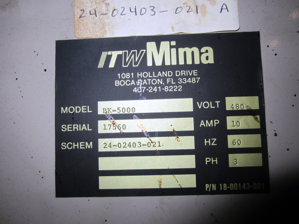 Itw Mima Model BK-5000 Pallet Wrapper, S/N: 17560 | Load Fee: $200 - Image 3 of 3