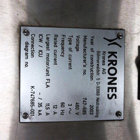 Krones Model Autocol Front/Back High Speed Pressure Sensitive Labeler, S/N: 747-   Load Fee: $250 - Image 4 of 4