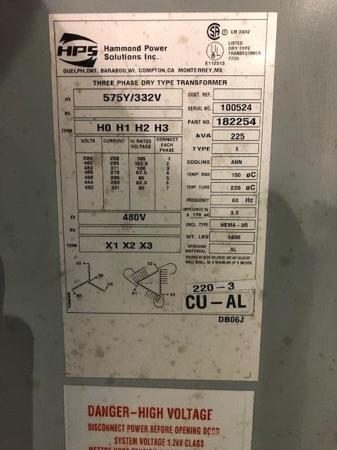 Hammond Power Solutions 225KVA Transformer, 3ph / 480V, S/N: 100524   Load Fee: $50 - Image 2 of 2