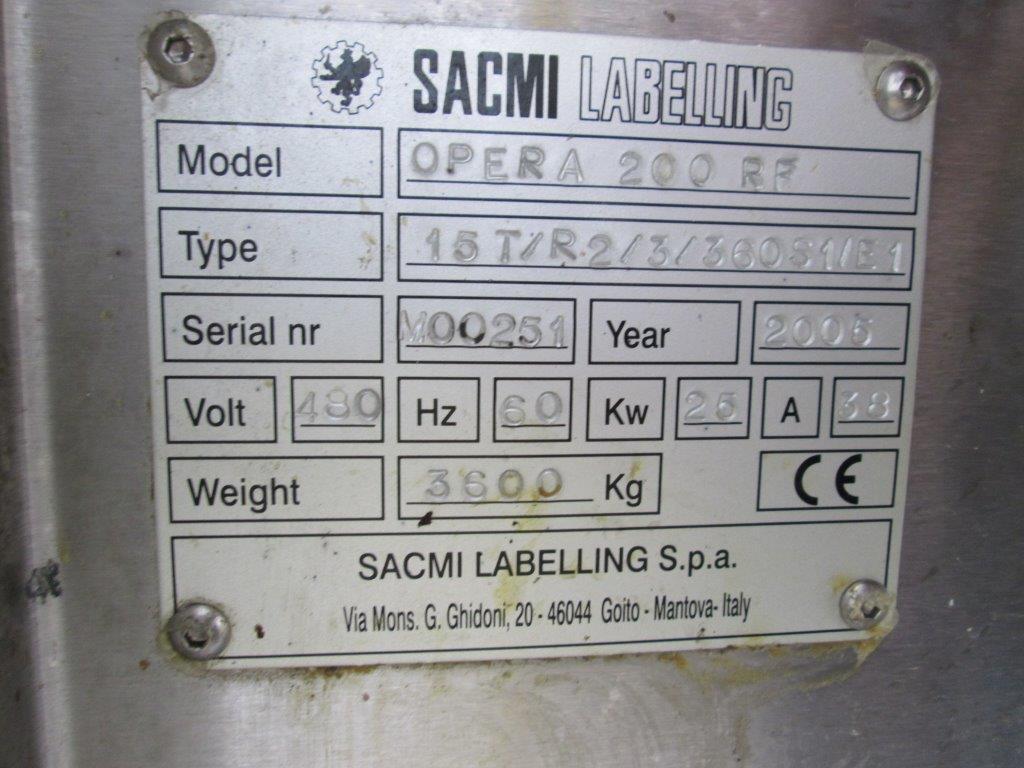 Sacmi Model OPERA 200RF 15-Station Roll Feed Rotary Labeler, S/N: M00251   Load Fee: $250 - Image 6 of 6