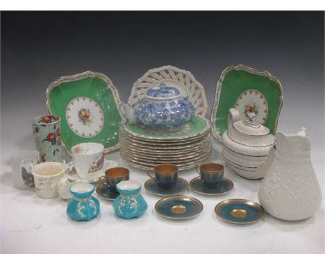 A quantity of ceramics and glass to include early 19th century tea pot and cover, a Victorian white glazed jug, a Foley China