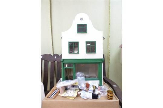 Vintage Scratch Built Art Deco Style Dolls House Shop With A Quantity Of Dolls House Furniture