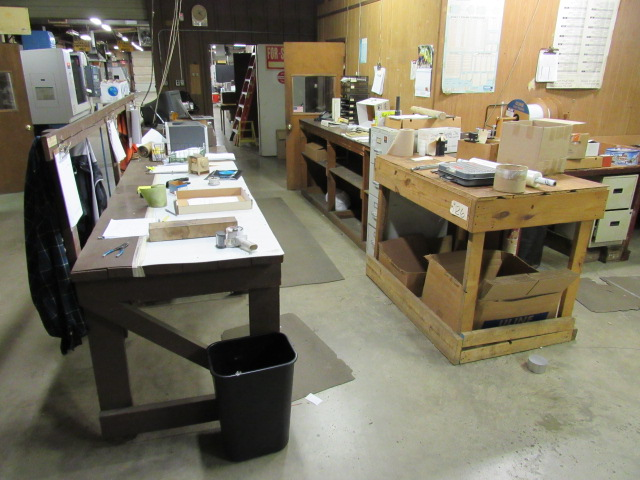 Lot 26 - Shipping Area including Wood Tables, Desks, Shipping Supplies