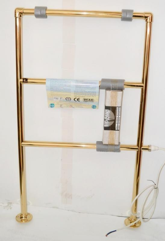 Los 3646 - 1 x Vogue Electric Heated Towel Rail - New / Boxed Stock - Bright Brass Finish - Dimensions: 52 x 92