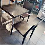 4 x Square Wood-Topped Bistro Tables With Metal Bases + 4 x Matching Wooden Chairs