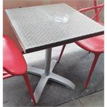 6 x Outdoor Square Bistro Tables With A Rattan-Effect Tops - From A Milan-style City Centre Cafe