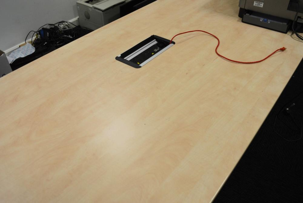 1 X BOARDROOM MEETING TABLE WITH BIRCH FINISH AND CENTRAL CONNECTIVITY SOCKETS -H73 X W240 X D100CM - Image 3 of 3