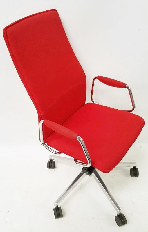 1 x 'Sven Christiansen' Premium Designer High-back Office Chair In Red (HBB1HA) - Used, In Very Good - Image 4 of 7