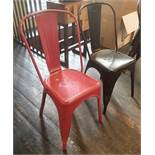 6 x Assorted Rustic Metal Bistro Chairs - Includes 2 x In Red, And 4 x In Black - Recently Taken Fro