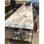 1 x White Marble/Granite Topped Cocktail Table - From A Milan-style City Centre Cafe