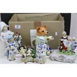 Box of mixed vintage ceramics to include; nodding type Figurines, Hummels, Novelty teapot etc