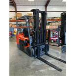 "TOYOTA 7FBEU20 36V FORKLIFT, 189"" LIFT, TILT, SIDESHIFT, RUNS AND OPERATES"