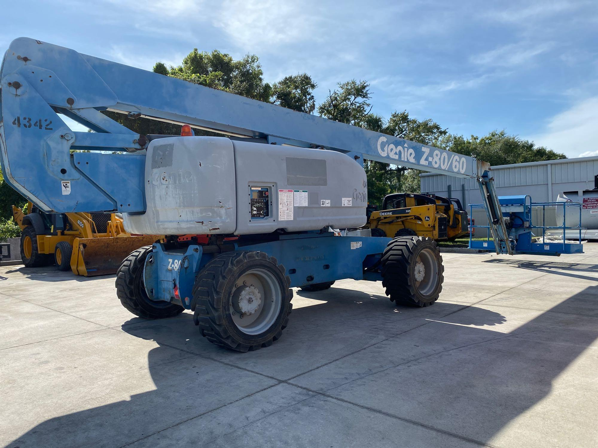 Lot 11 - GENIE Z80/60 DIESEL POWERED ARTICULATING BOOM LIFT, 4X4 RUNS AND OPERATES