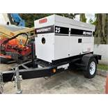 WHISPERWATT TRAILER MOUNTED DIESEL GENERATOR MODEL DF-027012, 1 PH/3 PH, 25 KVA, 20 KW
