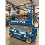 GENIE GS-1930 ELECTRIC SCISSOR LIFT, SELF PROPELLED, 19' PLATFORM HEIGHT, 500 LB CAPACITY, SLIDE OUT