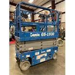 2017 GENIE GS-1930 ELECTRIC SELF PROPELLED SCISSOR LIFT, 19' PLATFORM HEIGHT, SLIDE OUT PLATFORM