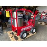 NEW 2019 MAGNUM 4000 PSI HEATED PRESSURE WASHER, ELECTRIC START, GAS POWERED WITH DIESEL BURNER, HOS