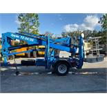 2015 GENIE TZ-34 TRAILER MOUNTED, TOW BEHIND, ARTICULATING ELECTRIC MAN LIFT, OUTRIGGERS, 34' PLATFO