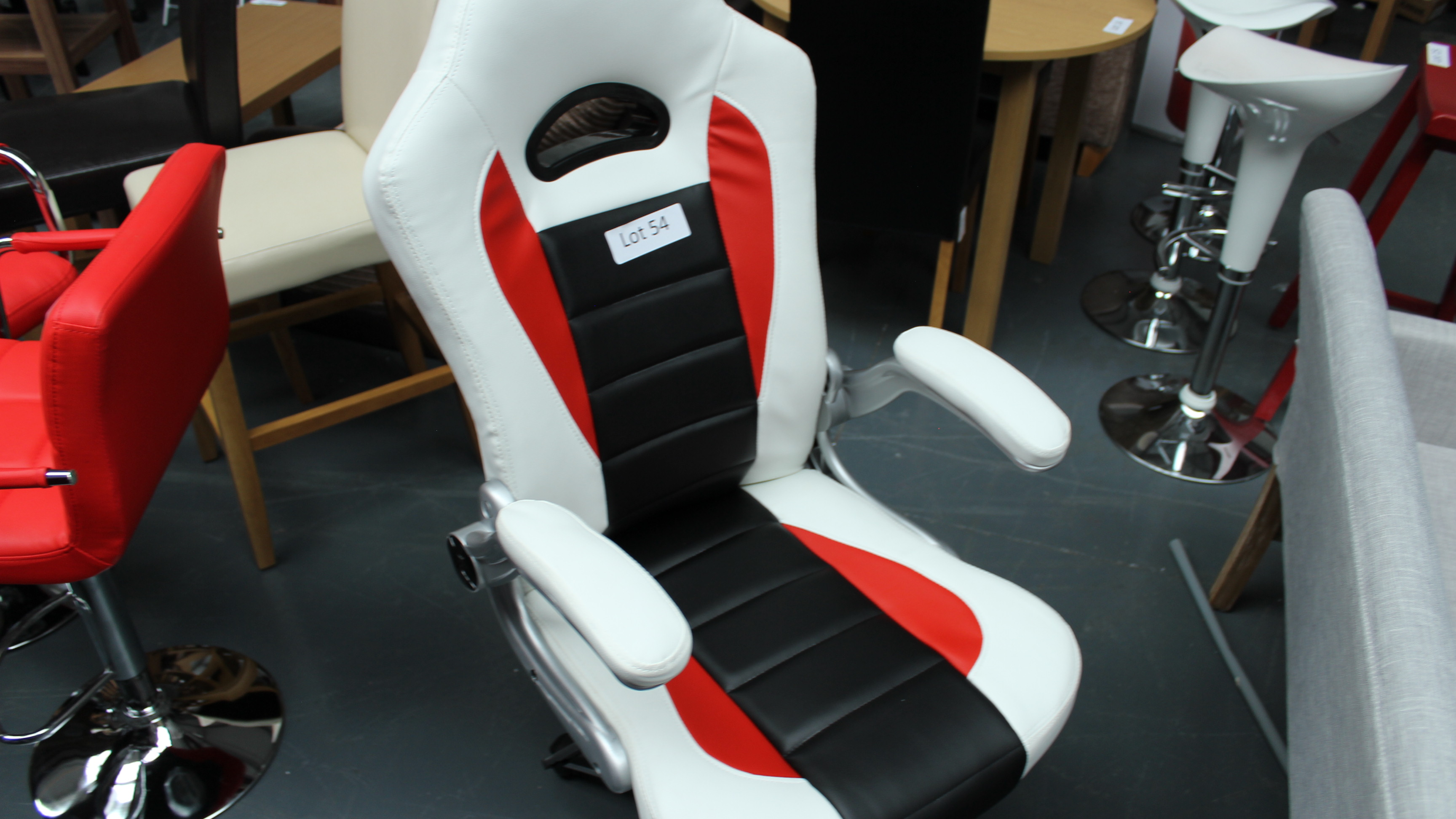 Lot 54 - Red, Black & White Computer Chair. New