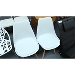 2 Retro White & Wooden Chairs. New