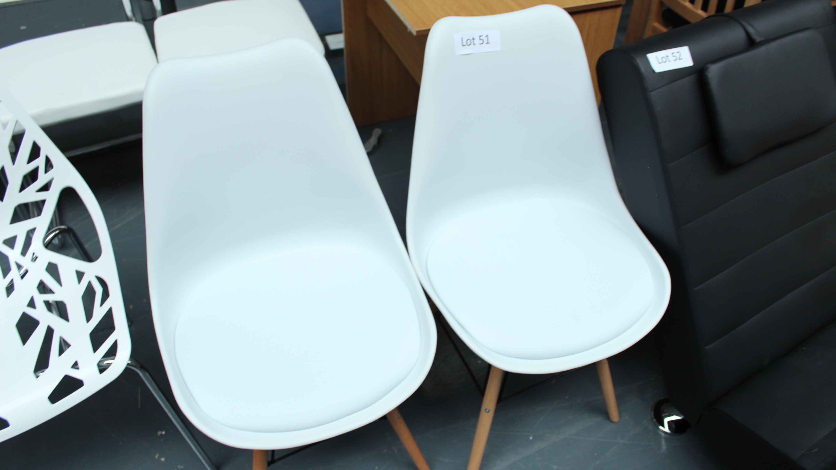 Lot 51 - 2 Retro White & Wooden Chairs. New