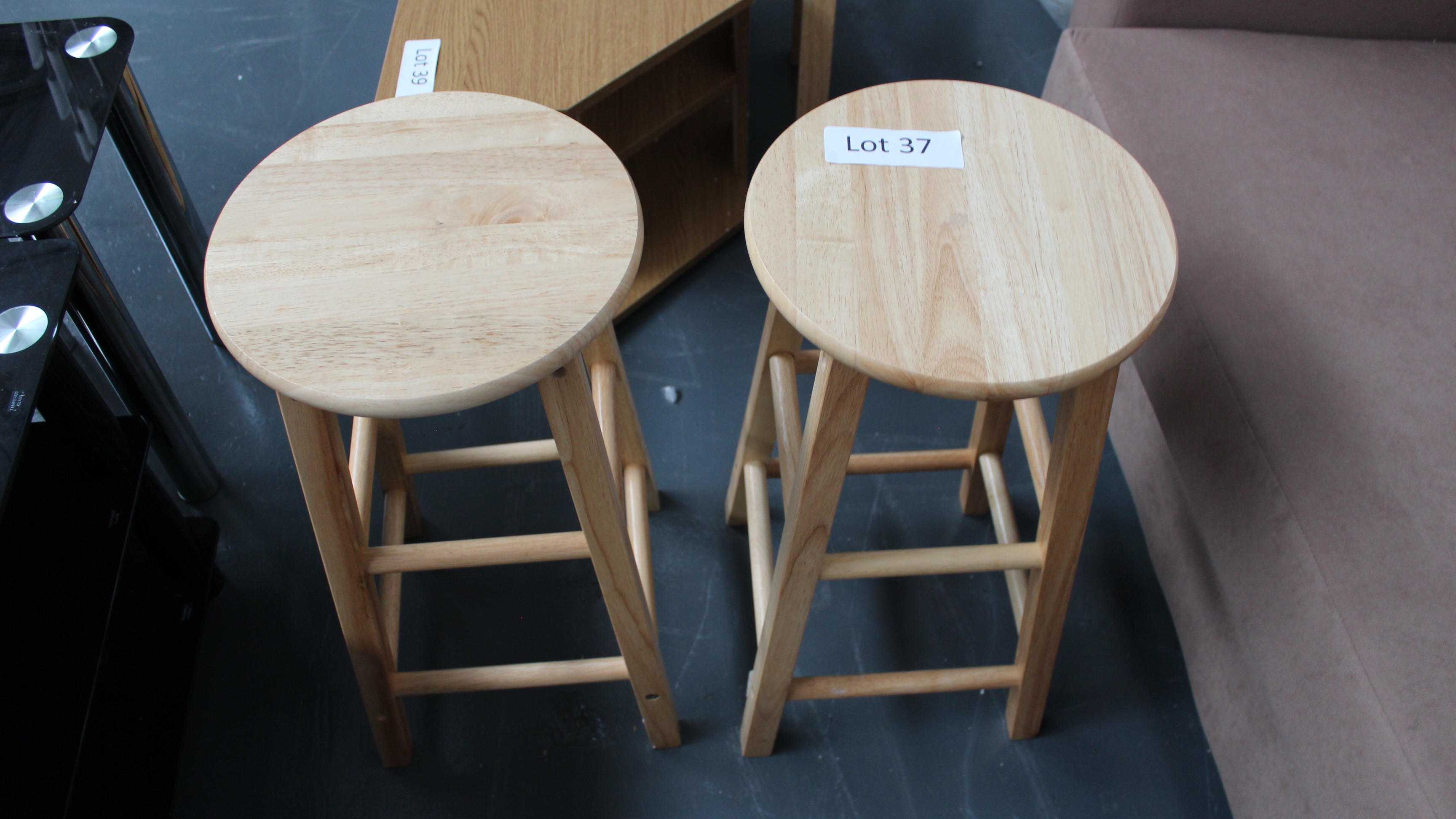 Lot 37 - 2 Mini Wooden Bar Stools. Customer Returns