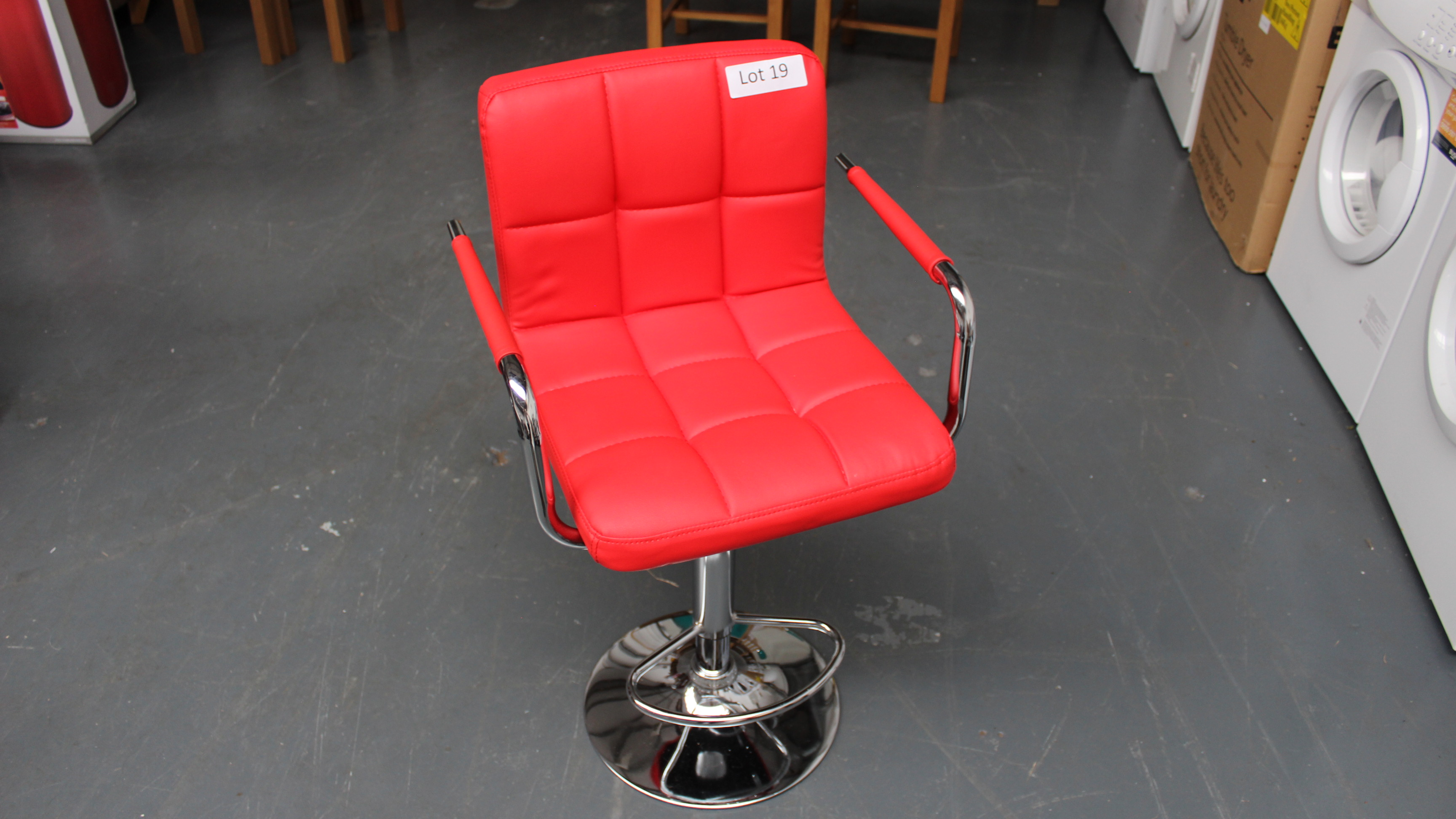 Lot 19 - Red Bar Stool. New