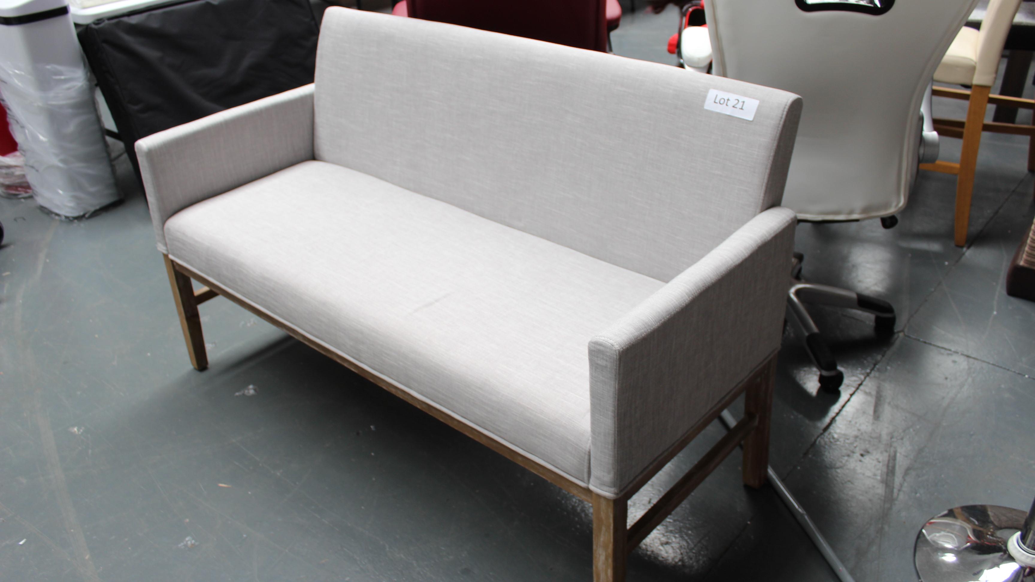 Lot 21 - Light Gray & Wood Sofa. New