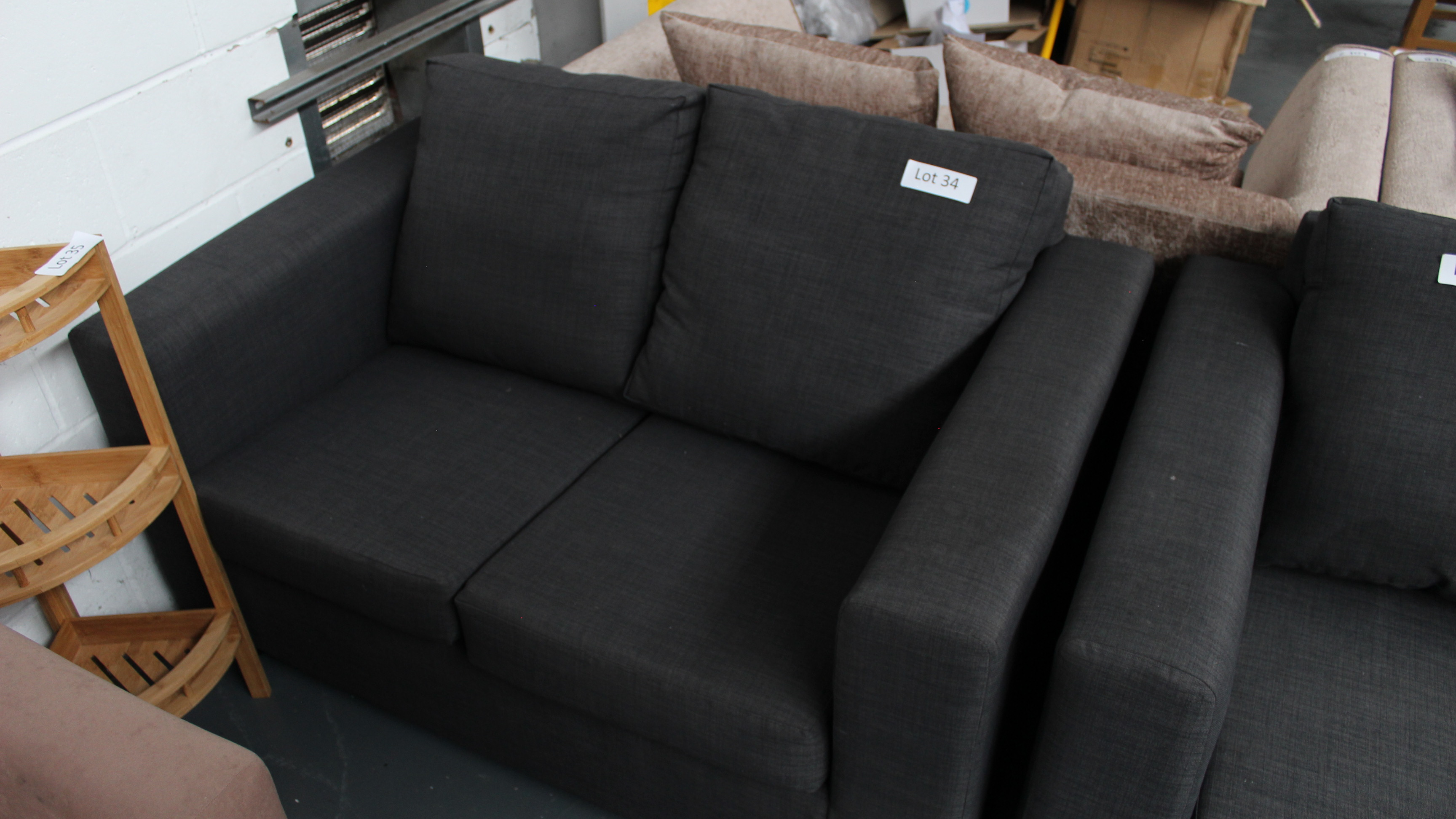 Lot 34 - 2 Seater Charcoal Sofa. Customer Returns