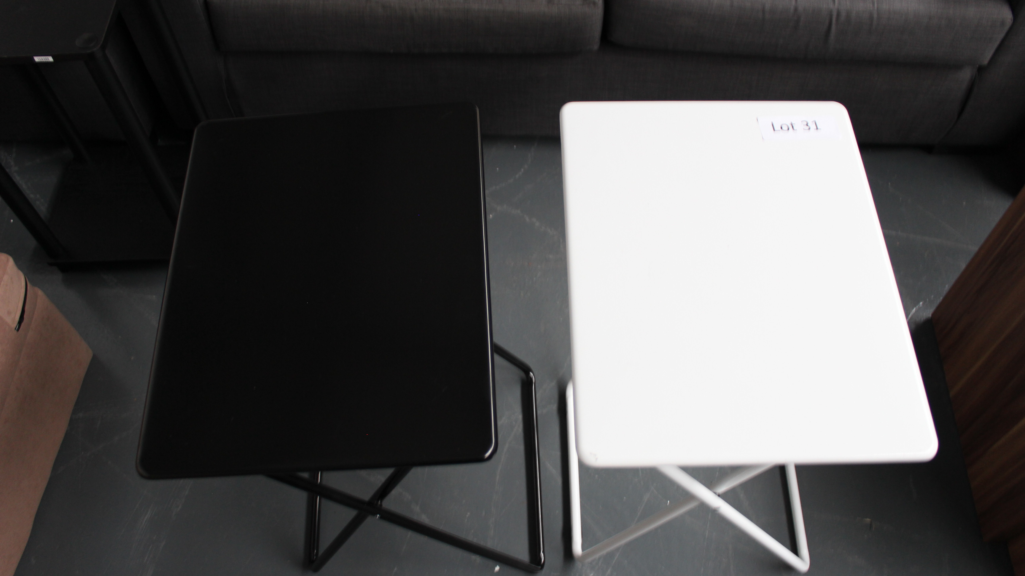 Lot 31 - Two Occasional Tables 1 Black 1 White. Customer Returns