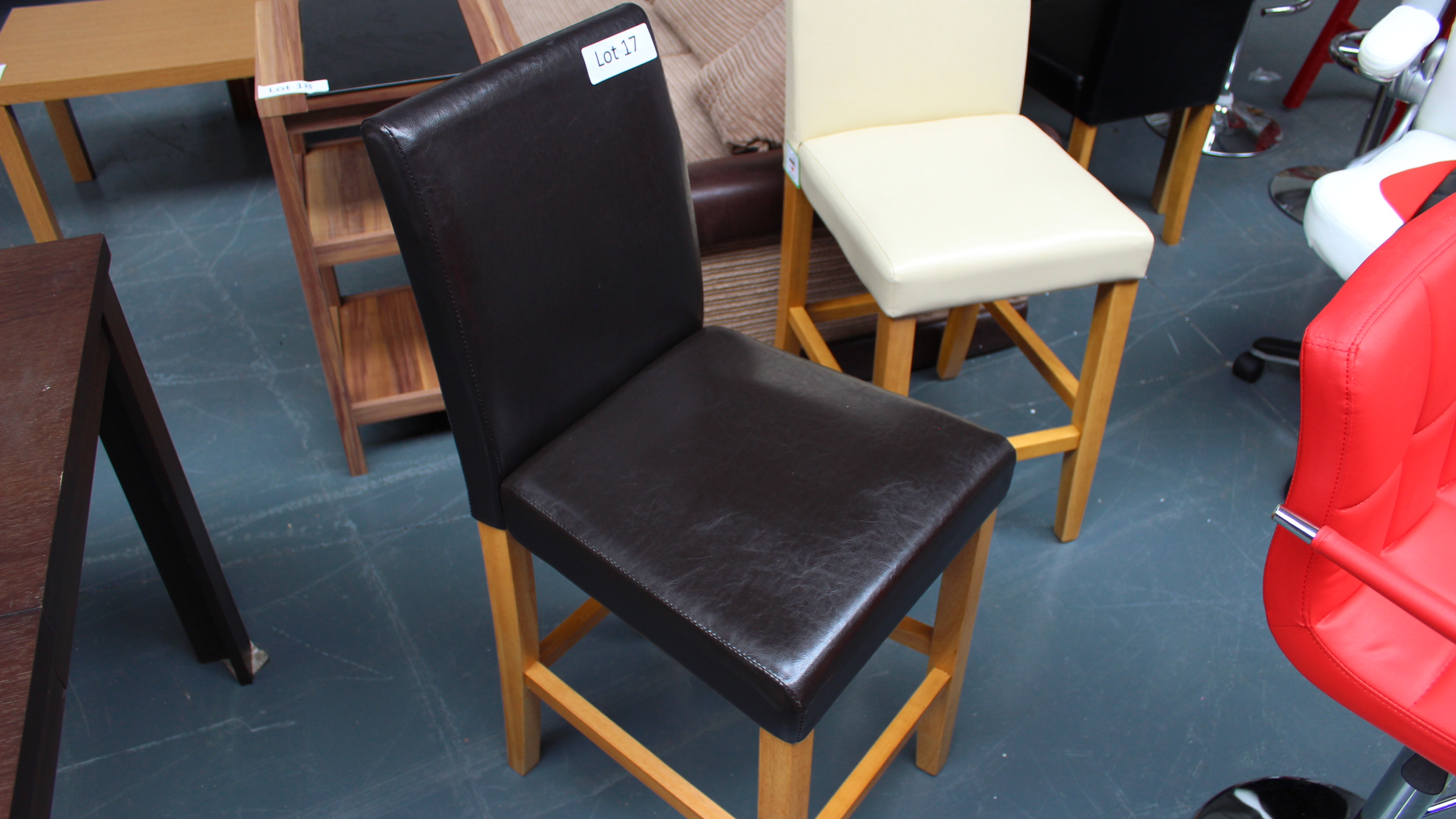 Lot 17 - Brown Faux Leather Bar Stool Customer Returns