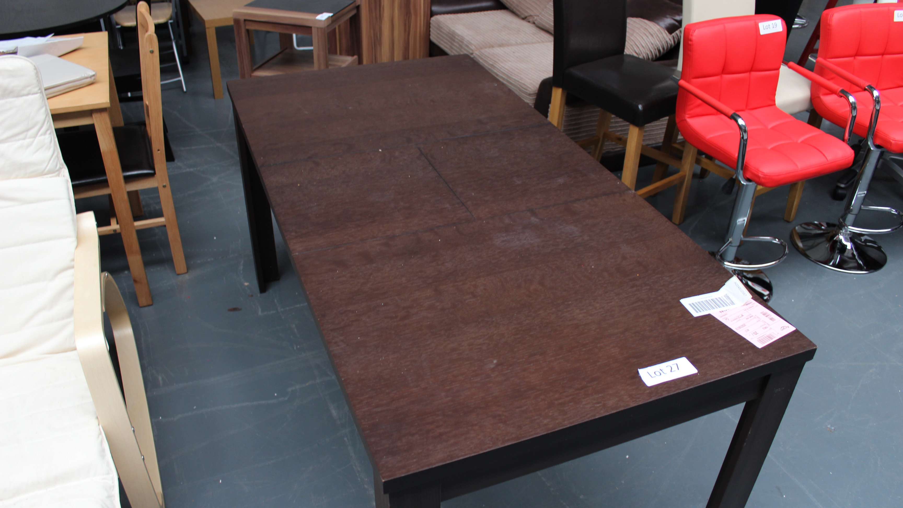 Lot 27 - Dark Wood Dining Table Customer Returns