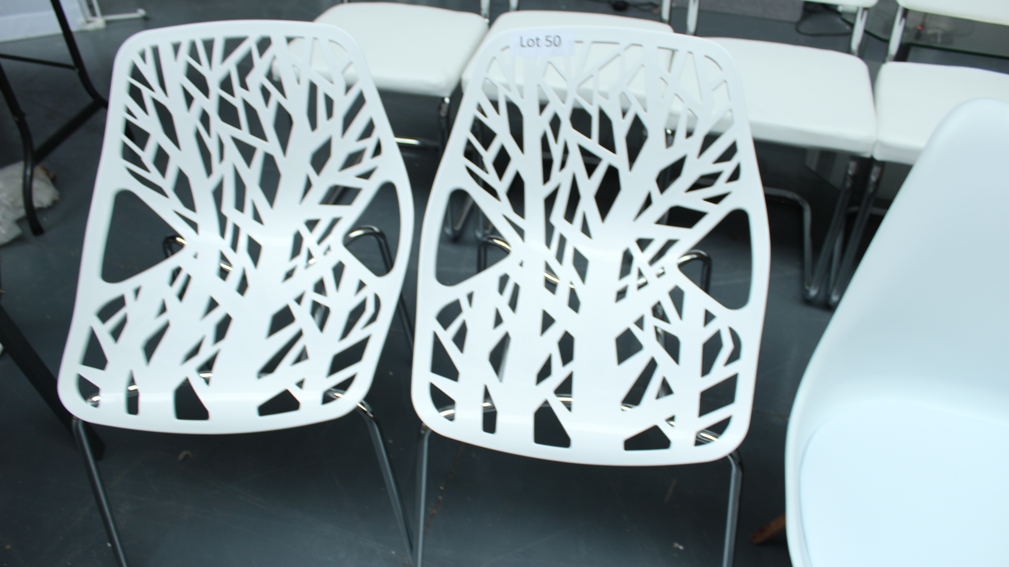 Lot 50 - 2 White Designer Style Chairs. New