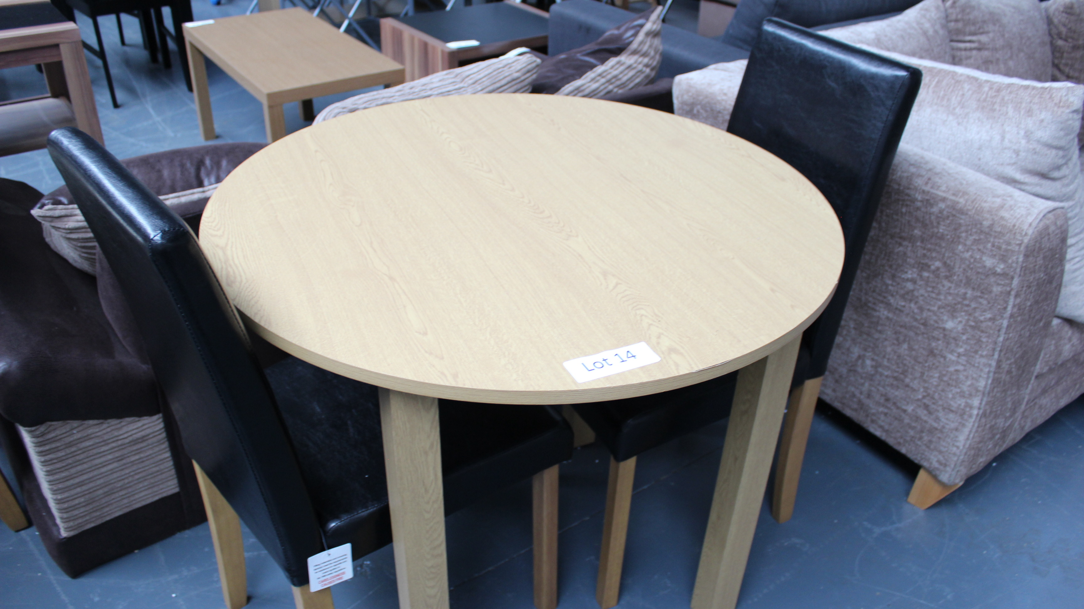 Lot 14 - Wooden Dining Table & 2 Faux Leather Chairs Customer Returns