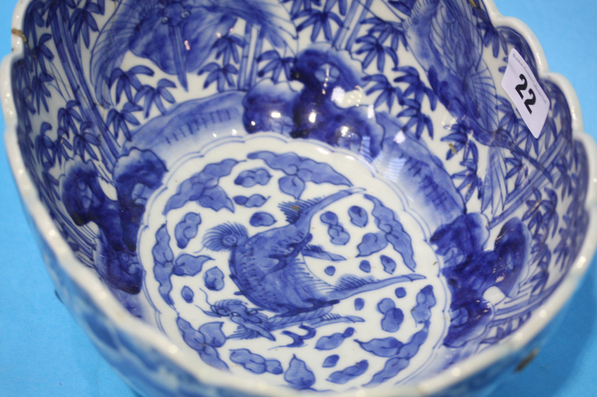 Lot 22 - A late 19th century Chinese blue and white bowl de