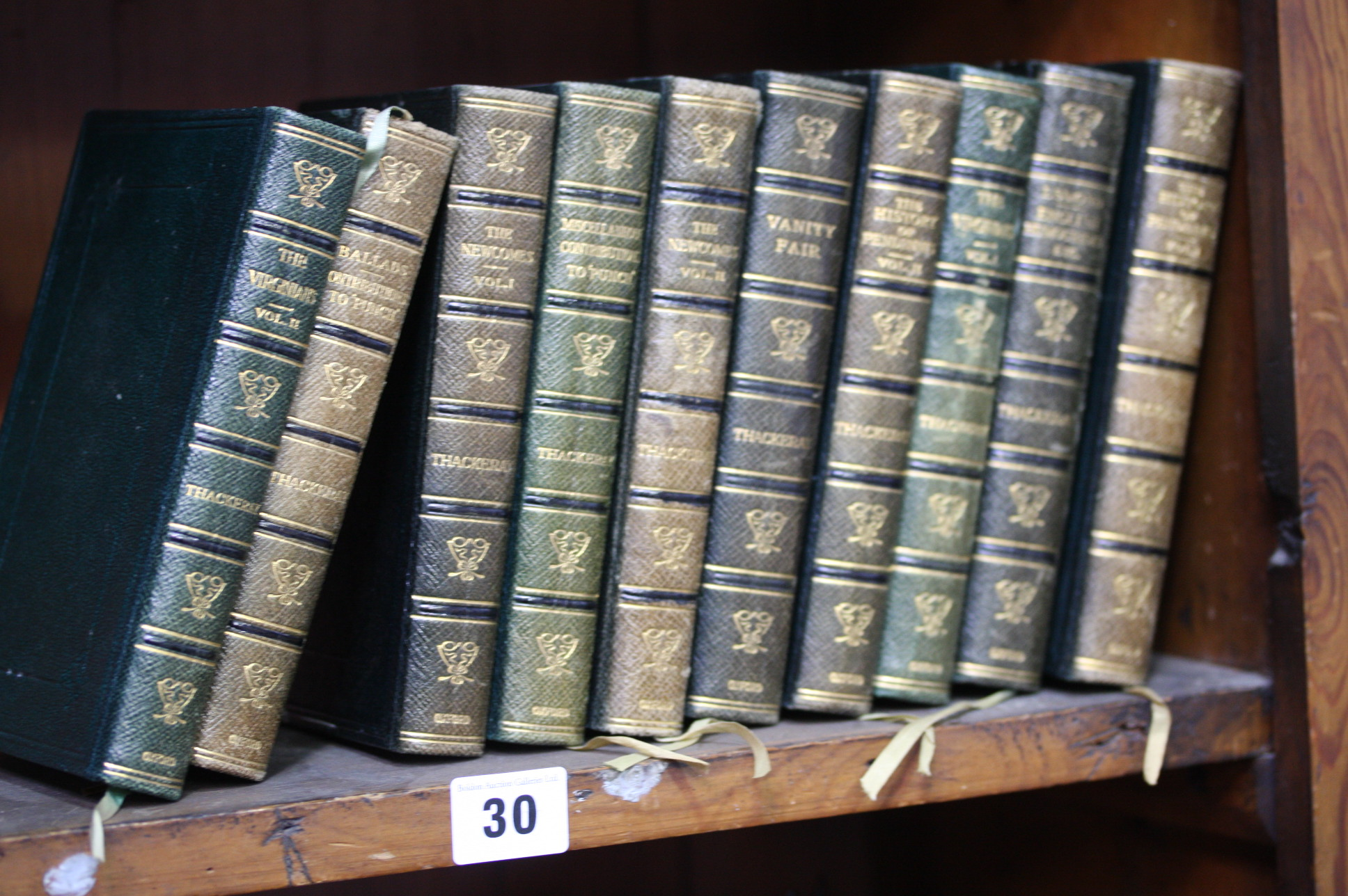 Lot 30 - Ten leather bound volumes by William Makepeace Tha