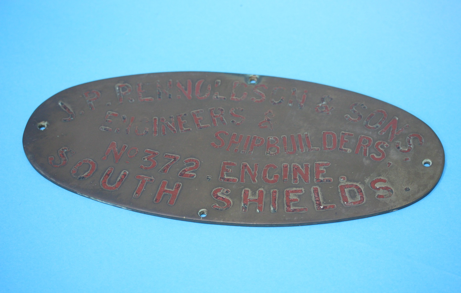Lot 16 - J. P. Rennoldson and Sons, Ship Builders oval plaq