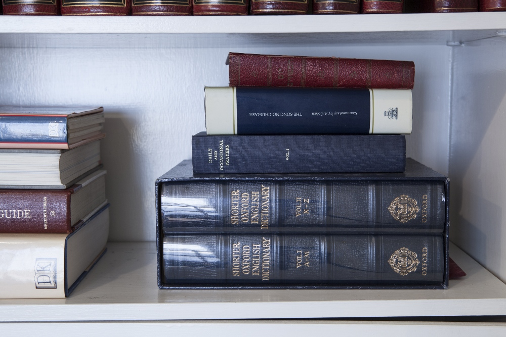 Lot 51 - OXFORD SHORTER ENGLISH DICTIONARY, IN TWO VOLUMES BLUE CALF, IN SLIP CASE AND SUNDRY BOOKS