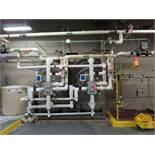 "Culligan water softener system includig (2) steel storage tanks, approx. 7' tall X 51"" dia., (2)"