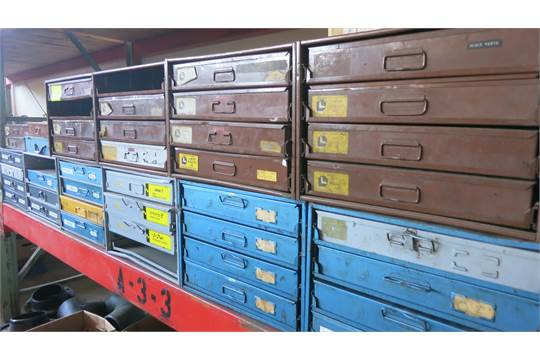 Lot LawsonKimball Bowman Metal Parts Drawers Cabinet With - Parts cabinets