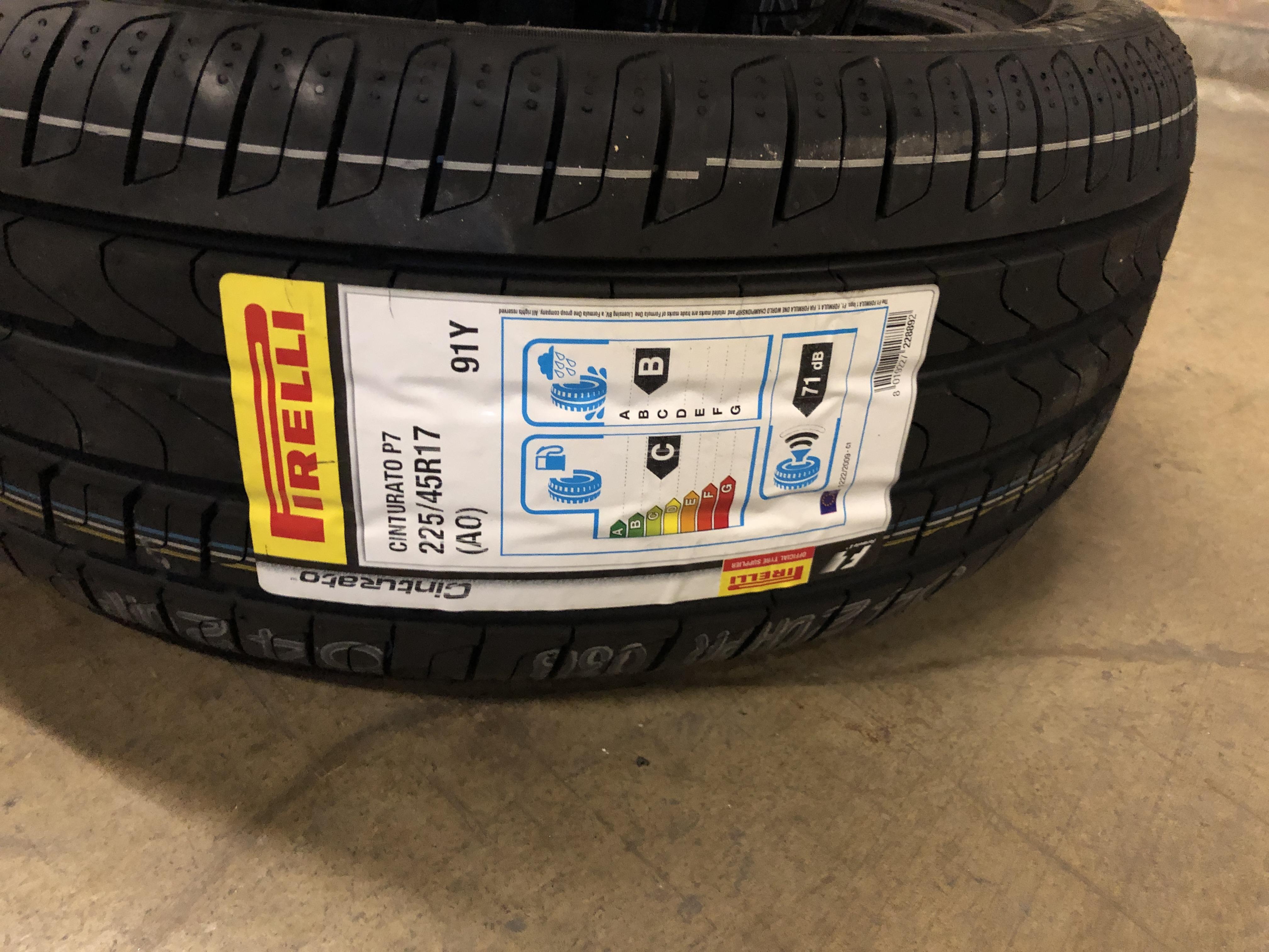 Lot 54 - 2: Pierelli Cinturato P7 225/45R17 (AO) 91Y Tyres (Please Note: Items located in Birmingham B6.