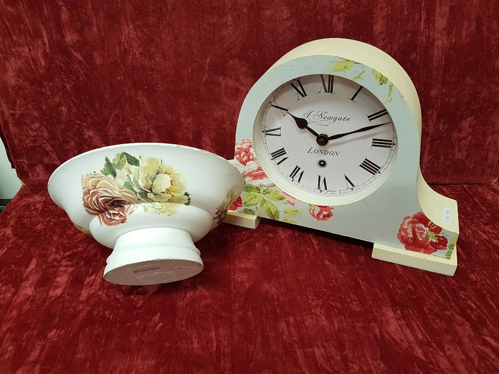 Lot 10 - A Laura Ashley wooden bowl and Newgate clock.