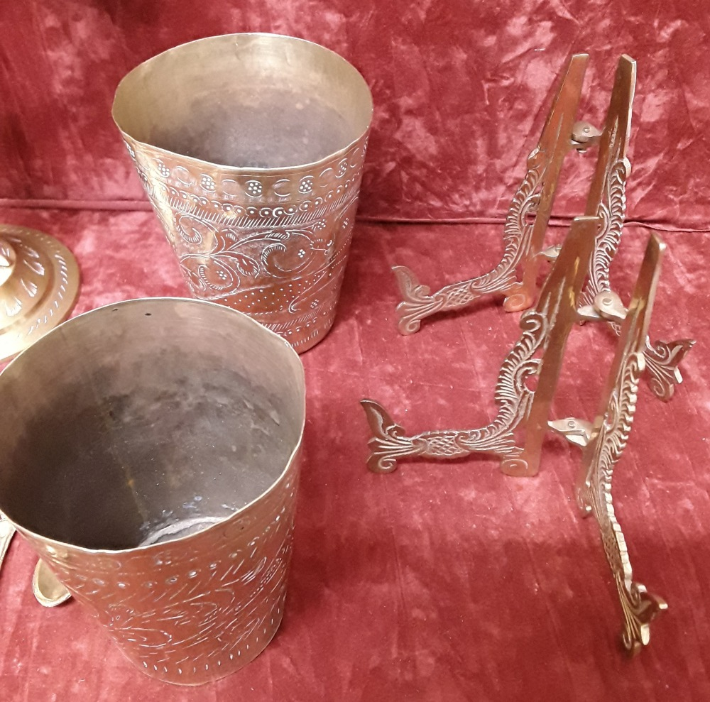 Lot 61 - A collection of Middle Eastern / Indian decorated brass items.